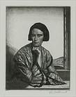 """Gerald Leslie Brockhurst, etching, """"Viba"""" 1929"""
