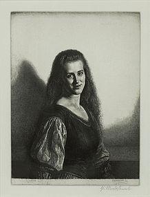 "Gerald Leslie Brockhurst, etching, ""Anais II"" 1930"