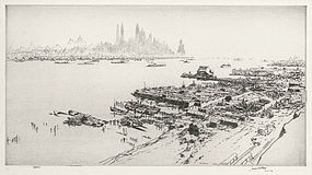 """James McBey, etching, """"New York from Weehawken"""" 1940"""