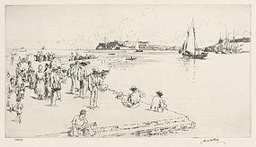 """James McBey, etching, """"Havana Harbor"""" 1940"""