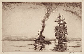 """Arthur J. T. Briscoe, etching, """"Casting Her Off"""" 1927"""