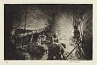 "Arthur J. T. Briscoe, etching, ""Sorting Fish"" 1926"