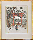 "T F Simon, color etching ""The Japanese Gates of Tori in Kyoto, Winter"""