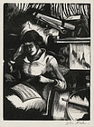 "John Nash, wood engraving, ""Woman Reading"" c. 1930"