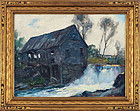 "Stanley Woodward, oil on board, ""The Old Grist Mill"""