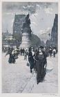 "Manuel Robbe, etching, ""Clichy"" c. 1910"