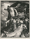 "Sir Frank Brangwyn, lithograph, ""Making Sailors: The Gun"" 1917"