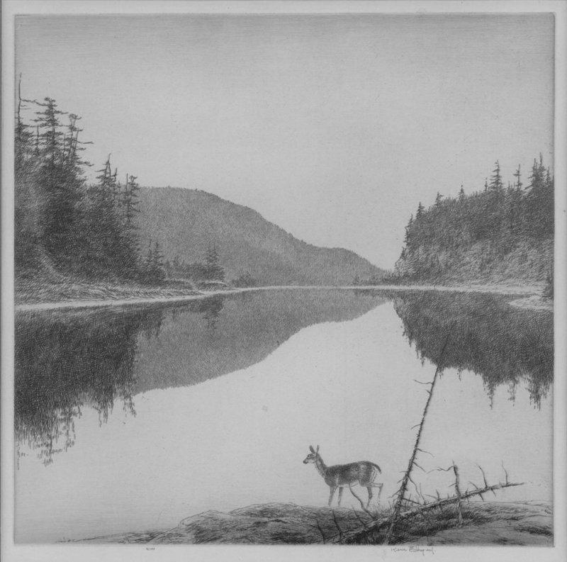 "Kerr Eby, etching, ""An Agawa Reach"" 1932"