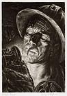 """Irwin D Hoffman, etching, """"Cigarette Underground"""" 1938"""