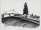 "Walter Phillips, wood engraving, ""Engineer's House and South Wall"""