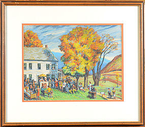 "Harry Shokler, serigraph, ""Vermont Auction"""
