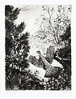 "Aiden Lassell Ripley, etching, ""Rising Grouse"" 1936"