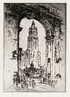 "Joseph Pennell, etching, ""The Woolworth, Through the Arch"" 1921"