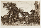 "Mary NImmo Moran, etching, ""An Old Homestead, Easthampton Long Island"""