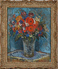 "Gustave Von Schlegell, oil on canvas, ""Still Life with Red Flowers"""