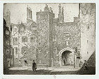 "Joseph Pennell, etching, ""The Great Gate, Lincoln's Inn"" 1905"