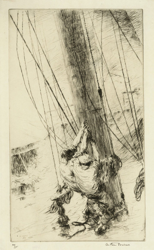 """Arthur J. T. Briscoe, etching, """"Clewlines and Buntlines"""" 1925"""