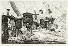 """Job Nixon, engraving, """"Cave Dwellers, Dieppe"""" 1925"""