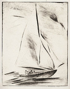 """Walter Drewes, etching, """"New Rochelle- Before the Wind"""" 1931"""
