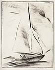 "Walter Drewes, etching, ""New Rochelle- Before the Wind"" 1931"