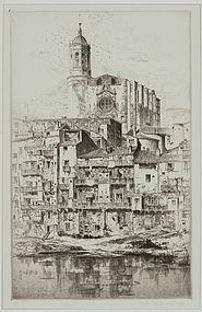 """John Taylor Arms, etching, """"Gerona"""" 1925"""