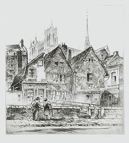 """John Taylor Arms, etching, """"Amiens"""" 1926"""