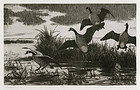 "Aiden Lassell Ripley, etching, ""Geese"" c. 1930"