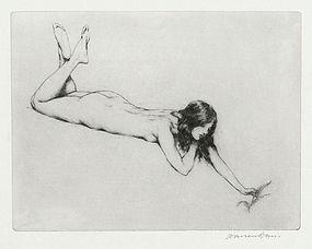 """Warren Davis, etching, """"The Fern"""" c. 1920"""