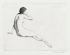 "Warren Davis, etching, ""The Echo"" c. 1920"