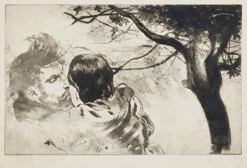 """Louis Legrand, etching, """"Sous les Figuires (Beneath the Fig Trees)"""""""