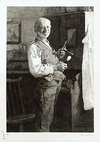 """Thomas Hovenden, etching, """"The Old Shaver"""" 1887"""