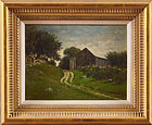 """Edward Burrill, oil on canvas, """"Path to the Shed"""" 1885"""