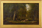 "Clinton Loveridge, oil on canvas, ""Sheep in a Woodland Pasture"" 1884"