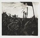 """Kathe Kollwitz, etching, """"Revolt"""""""