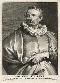 "Anthony Van Dyck, engraving, ""Adrianus Stalbent"" c. 1700s"