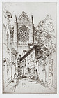 """John Taylor Arms, etching, """"The Rose, Beauvais"""" 1925"""