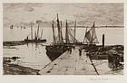 """Charles Adams Platt, etching, """"Pier at Larmor"""" 1885"""