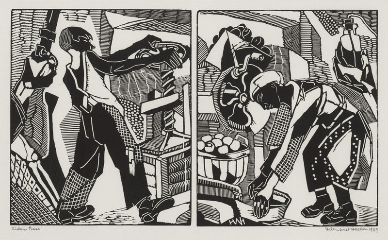 "Helen West Heller, woodblock, ""Cider Press"" 1939"
