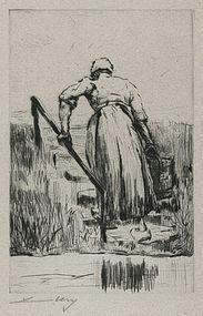 "Lesser Ury, etching, ""Dutch Woman Fetching Water"" 1923"