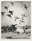 "Frank Benson, etching, ""Flying Ducks"" 1919"