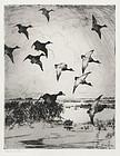 "Frank Benson, etching, ""Flying Ducks"" 1919"
