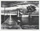 "Georges Schreiber, lithograph, ""Rain"" 1942"