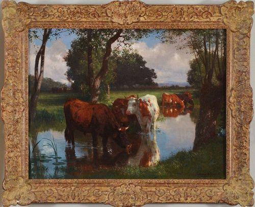 """Auguste Bonheur, oil on canvas, """"The Summer Pasture"""" c. 1860"""