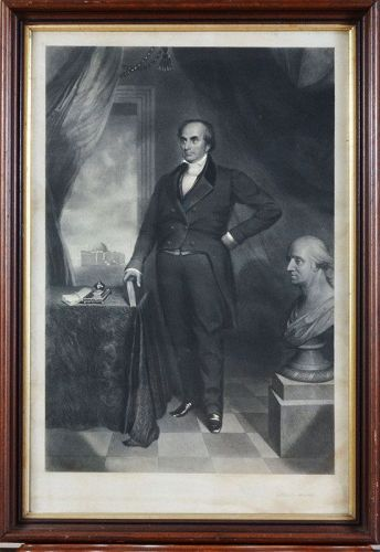 "Thomas B. Lawson, engraving, ""Daniel Webster with bust of Washington"""