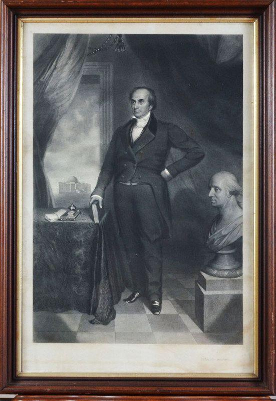 "Thomas B. Lawson, engraving, ""Daniel Webster with bust of Washington"""