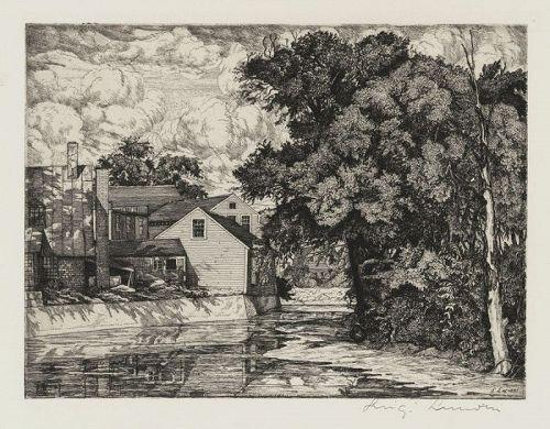 """Luigi Lucioni, etching, """"The Mill"""" 1939"""