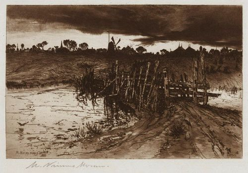 "Mary Nimmo Moran, etching, ""Tween the Gloaming and the Mirk..."""