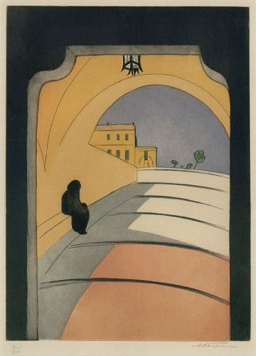 "Augusta Payne Rathbone, etching, ""Entrance to Monaco"" c. 1938"