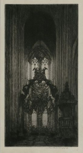 "Mortimer Menpes, etching, ""Interior of St Maclou, Rouen"""