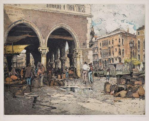 "Luigi Kasimir, etching, ""Venice Fish Market"" c. 1923"